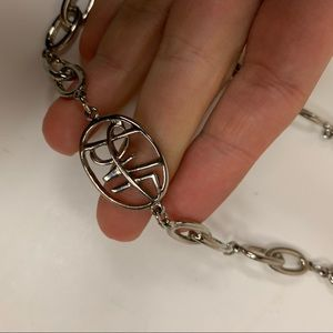 """DVF Circle Logo Silver Chain Loop Necklace 16"""""""